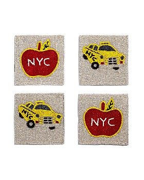 Sudha Pennathur - Beaded NYC Taxi & Apple Coasters, Set of 4