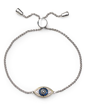 Bloomingdale's - Diamond Evil Eye Adjustable Bracelet in Sterling Silver & 14K Gold-Plated Sterling Silver, 0.1 ct. t.w. - 100% Exclusive