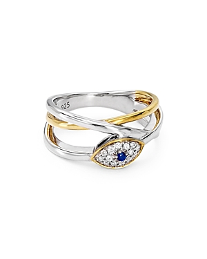 Bloomingdale's Marc & Marcella Diamond & Sapphire Evil Eye Ring in Sterling Silver & 14K Gold-Plated
