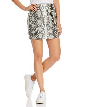 AQUA - Embossed Faux-Leather Mini Skirt - 100% Exclusive