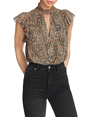 1.state Keyhole Leopard Print Blouse