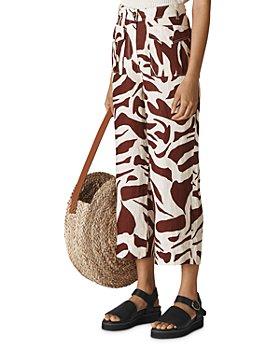 Whistles - Ella Zebra-Print Cropped Linen Pants