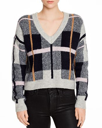 AQUA - Plaid V-Neck Sweater- 100% Exclusive