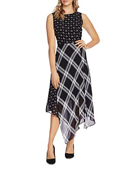 VINCE CAMUTO - Windowpane Floral Print Midi Dress