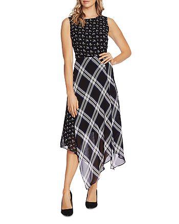 VINCE CAMUTO - Windowpane Floral Print Midi Dress