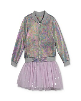 Pippa & Julie - Girls' Metallic Bomber Jacket & Tutu Dress Set - Little Kid