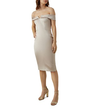 KAREN MILLEN - Origami Satin Sheath Dress