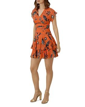 KAREN MILLEN - Tiered Floral Mini Dress