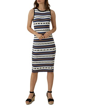 KAREN MILLEN -  Striped Knit Midi Dress