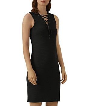 KAREN MILLEN - Lace-Up Ponte Dress