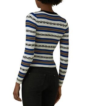 KAREN MILLEN - Striped Snap-Front Cardigan