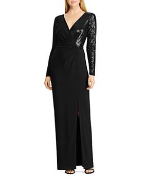 Ralph Lauren - Sequined Long-Sleeve Gown