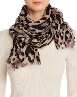 Leopard Print Wool Scarf   100% Exclusive by Bloomingdale's