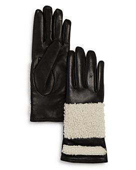 Bloomingdale's - Shearling-Trim Leather Gloves - 100% Exclusive
