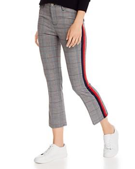 AQUA - Track Stripe Plaid Ponte Pants - 100% Exclusive