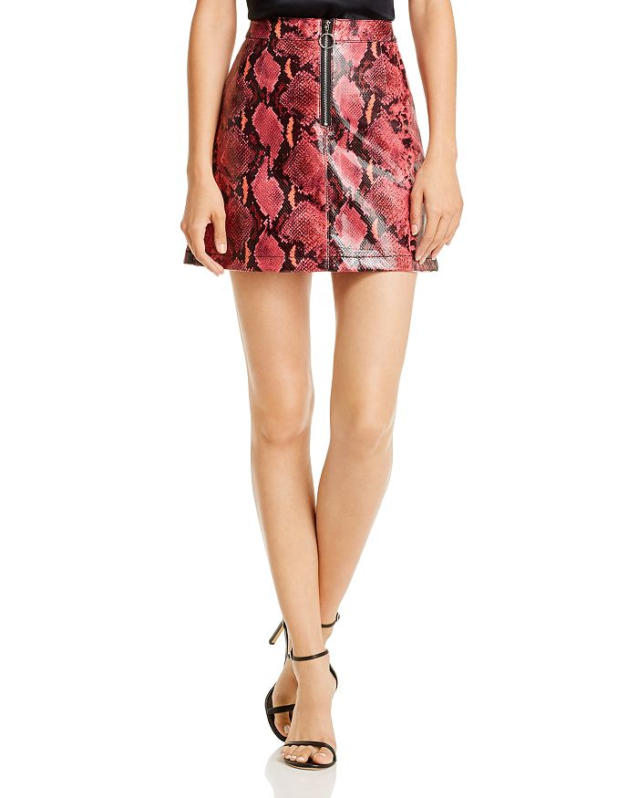 GUESS - Yolanda Snake Print Faux Leather Skirt