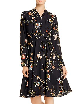 nanette Nanette Lepore - Pintucked Floral-Print Shirt Dress