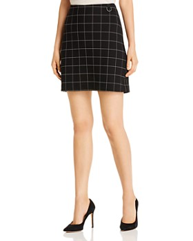 Kenneth Cole - Ponte Windowpane-Check Mini Skirt
