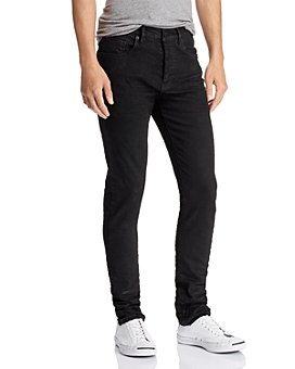 Purple Brand - 3-D Resin Skinny Fit Jeans in Black Repair