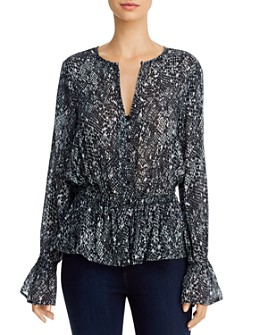Bella Dahl - Animal-Print Peplum Blouse - 100% Exclusive