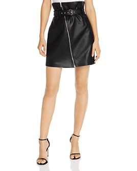 BLANKNYC - Paperbag-Waist Faux Leather Skirt