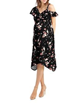 Ingrid & Isabel - Maternity Floral Print Asymmetric Ruffle Dress