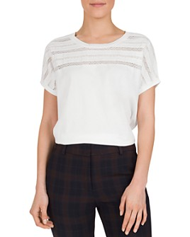 Gerard Darel - Emile Lace-Inset Cotton Tee