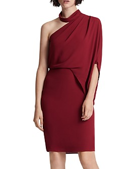 HALSTON - Asymmetric Draped Mock-Neck Dress