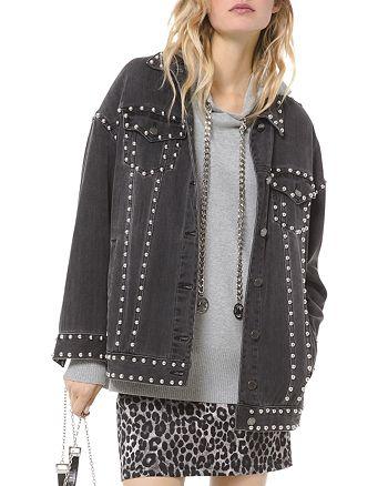 MICHAEL Michael Kors - Oversized Studded Denim Jacket in Charcoal Wash