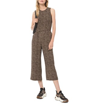 MICHAEL Michael Kors - Cropped Belted Animal-Print Jumpsuit
