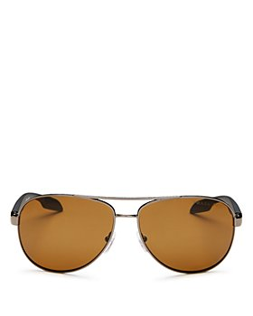 Prada - Men's Polarized Brow Bar Aviator Sunglasses, 62mm