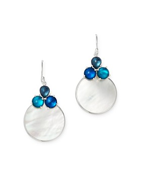 IPPOLITA - Sterling Silver Wonderland Overlapping Drop Earrings with Mother-of-Pearl Doublet in Blue Moon