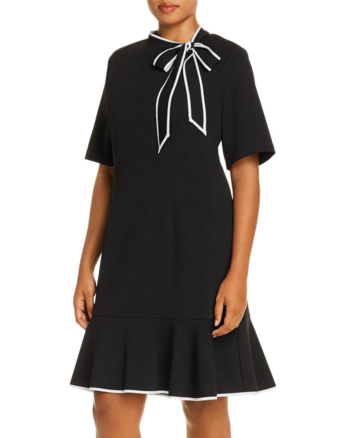 Adrianna Papell Plus - Tie-Neck Flounce Dress