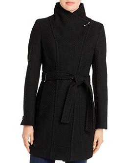 Calvin Klein - Basket-Weave Faux Wrap Coat