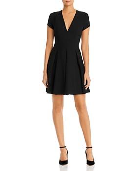 Armani - V-Neck Fit-and-Flare Mini Dress