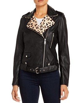 Scotch & Soda - Leopard-Trim Leather Biker Jacket