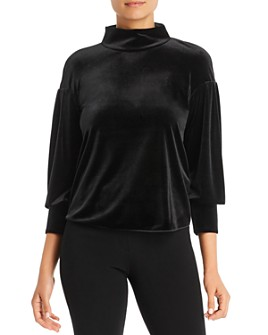 Armani - Velvet Boxy Mock Neck Top