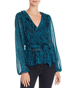 AQUA - Jaguar-Print Faux-Wrap Top - 100% Exclusive