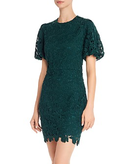 AQUA - Puffed-Sleeve Lace Sheath Dress - 100% Exclusive