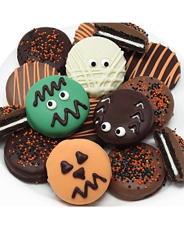 Chocolate Covered Company - Halloween Spooky Belgian Chocolate Sandwich Cookies, 12 Piece