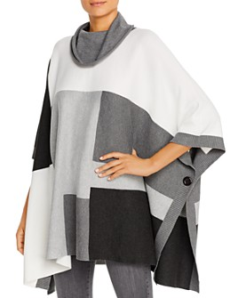 Sioni - Color-Block Cowl-Neck Poncho Sweater