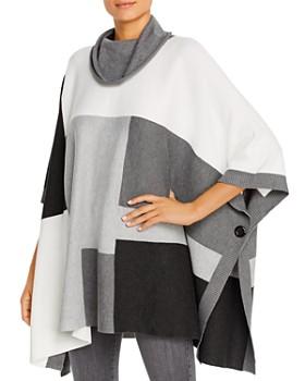 Sioni - Color-Block Cowl-Neck Poncho Sweater