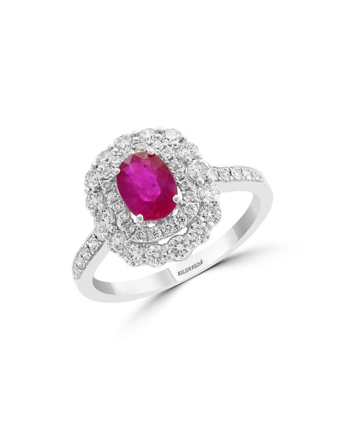 Bloomingdale's Ruby & Diamond Halo Ring in 14K White Gold - 100% Exclusive    Bloomingdale's