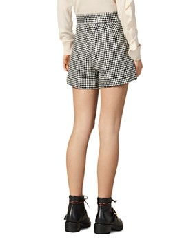 Sandro - Missey High-Waist Houndstooth Shorts