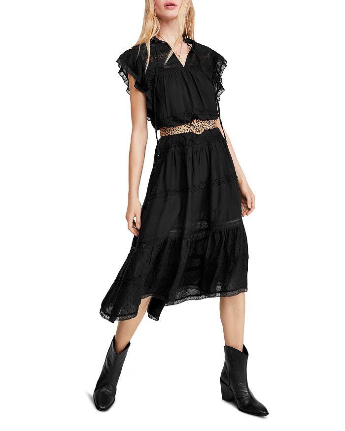 Free People - Midnight Lace-Trim Midi Dress