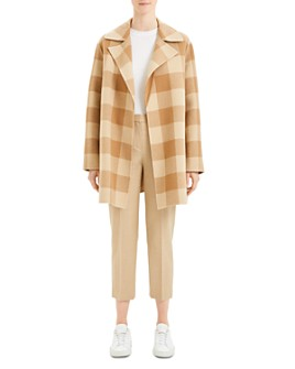 Theory - Wool Buffalo Plaid Open Coat