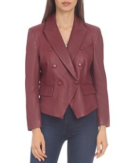 BAGATELLE.CITY - Leather Cropped Blazer