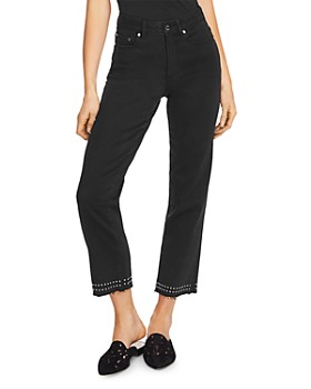 VINCE CAMUTO - Studded Cropped Straight-Leg Jeans in Jet Black