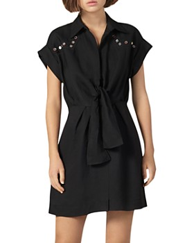 Sandro - Mavel Tie-Front Western Shirt Dress