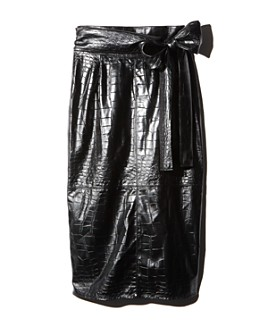 MSGM - Faux Croc-Embossed Tie-Waist Skirt